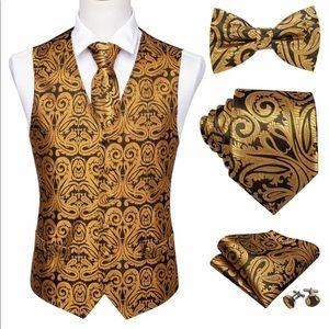 Men's Silk Waistcoat Set - Gold